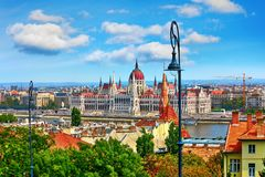 Construction hongroise du parlement à Budapest photo stock