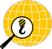 Construction hook, magnifier and planet silhouette Stock Image