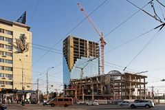 Construction of a hotel complex on Krasnoznamenskaya street in Volgograd. Volgograd, Russia - October 09, 2017: Construction of a hotel complex on Royalty Free Stock Photo