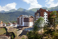 The construction of hotel in mountains Stock Images