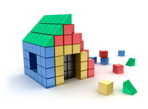 Construction of house from children's blocks.  on white Royalty Free Stock Photo