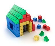 Construction of house from children's blocks.  on white Stock Images
