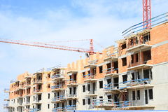 Construction of house with flats. Barrandov Terraces in Prague (Czech Republic) with cranes stock image