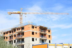 Construction of house with flats stock photo
