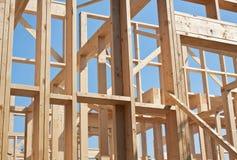 Construction of house, framework. Royalty Free Stock Photo