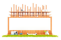 Construction of the house. Isolated. 3D. Illustration Stock Photo