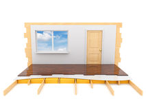Construction of the house. Isolated 3d Stock Photo