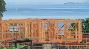 Construction of a house overlooking the sea, building homes in New Zealand Stock Images