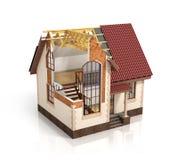 Construction house plan design blend transition illustration. Co. Nstruction process with dimension stock illustration