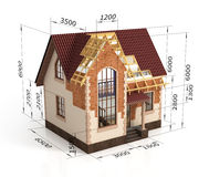 Construction house plan design blend transition illustration. Construction process with dimension stock illustration