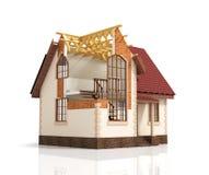Construction house plan design blend transition illustration. Construction process with dimension vector illustration