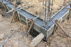 Construction house, reinforcement metal framework Royalty Free Stock Photos