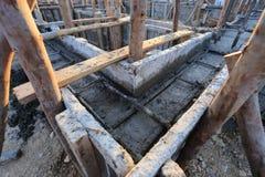 Construction house, reinforcement metal framework Royalty Free Stock Image
