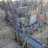 Construction house, reinforcement metal framework Royalty Free Stock Photo