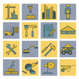 Construction and house repair icon set. Thin line design Stock Photography