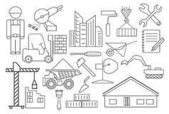 Construction and house repair icon set. Thin line design Royalty Free Stock Photography