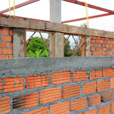 Construction house wall made red brick Royalty Free Stock Images