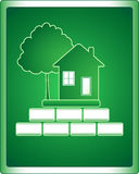 Construction houses. Green sign of building houses with tree and bricks stock illustration