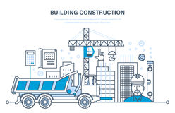 Construction of houses, buildings, construction sites, work foreman of engineer. Stock Images