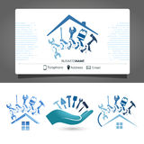 Construction of houses business card Stock Images