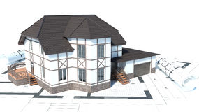 Construction of houses. drawings. 3d illustration Royalty Free Stock Photo