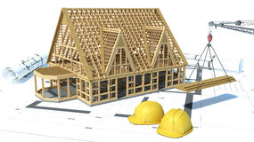 Construction of houses. drawings. 3d illustration Stock Images