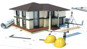 Construction of houses. drawings. 3d illustration Stock Photo