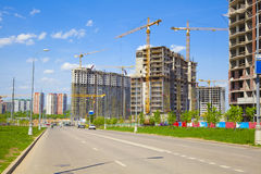 Construction of houses in a new neighborhood Stock Photos