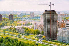 Construction of houses in residential area in Royalty Free Stock Image