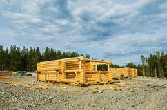 Construction of houses of timber Royalty Free Stock Photo