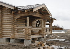 Construction of houses of timber Royalty Free Stock Photography