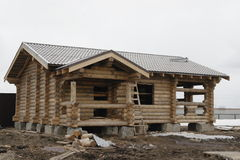 Construction of houses of timber Stock Photos