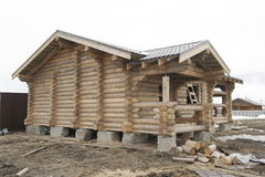 Construction of houses of timber Stock Photo