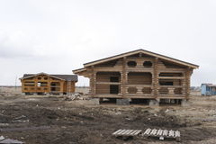 Construction of houses of timber Stock Photography