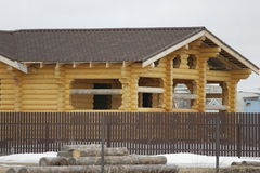 Construction of houses of timber Stock Images