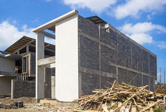 Construction of housing in  suburb Stock Photos