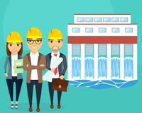 Construction of hydroelectric power. Converting water flow into electrical energy. A young team of engineers. Happy people Royalty Free Stock Photos