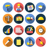 Construction icon flat design set with shadows Stock Photography