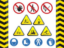Construction icon hazard safety signs set Stock Images