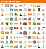 100 construction icon set, flat style. 100 construction icon set. Flat set of 100 construction icons for web design royalty free illustration