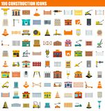 100 construction icon set, flat style. 100 construction icon set. Flat set of 100 construction vector icons for web design Stock Illustration