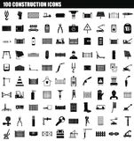 100 construction icon set, simple style. 100 construction icon set. Simple set of 100 construction vector icons for web design isolated on white background royalty free illustration