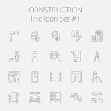 Construction icon set. Vector dark grey icon isolated on light grey background Royalty Free Stock Images