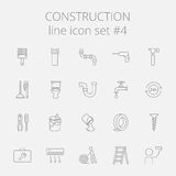 Construction icon set. Vector dark grey icon isolated on light grey background Stock Photography