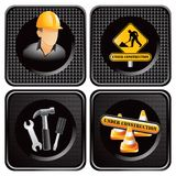 Construction icons on black checkered web icons Royalty Free Stock Images