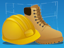 Construction icons with Boots and Hardhat Stock Photography
