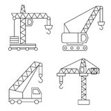 Construction icons. Cranes. Thin Line vector Royalty Free Stock Photo