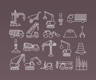 Construction icons. Cranes. Thin Line vector Stock Photography