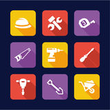 Construction Icons Flat Design Royalty Free Stock Image