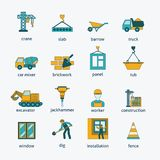 Construction icons flat line set Royalty Free Stock Photo